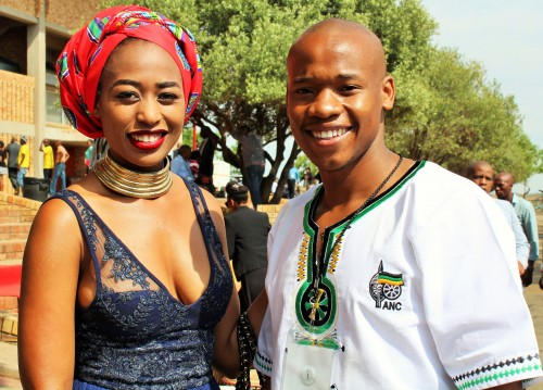 Mpho Khati (left), accompanied by the president of the Student Representative Council (SRC) of the University of the Free State, Lindokuhle Ntuli.