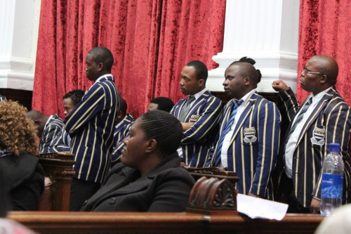 Members of the Free State Legislature choir dressed in Grey College attire pay their respect to Khaeeana.