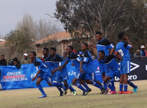 Roo Stars players celebrating their 2016 Engen Knockout Challenge victory just moments after a Virginia Academy player failed to score in an intense penalty shootout. Photo: Moeketsi Mogotsi