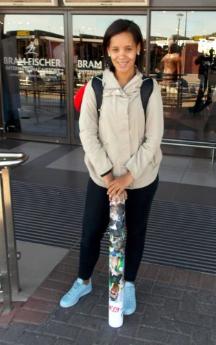 Chesney Campbell, Wayde van Niekerk's girlfriend, is seen here at the Bram Fischer airport on Sunday. She arrived from Rio de Janeiro after being there for Wayde when he clinched the Olympic Games 400m title in world record time (43,03). PHOTO: RUFUS BOTHA