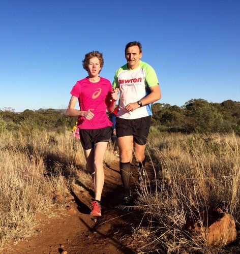 The blind international athlete, Danie Breitenbach (left), surprised friend and foe when he rocked up at the Castle Lite trail running meeting in Bloemfontein on Saturday. He completed the 5km race with his training partner, Barry Williams (guide), over the tricky up and down and slippery course. PHOTO: ADRIAN SAFFY
