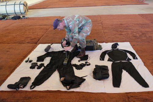 Lieutenant Colonel Laurel Thatcher of 44 Parachute Regiment showing the High Altitude Parachute System (HAPS) gear. Photo: André Grobler