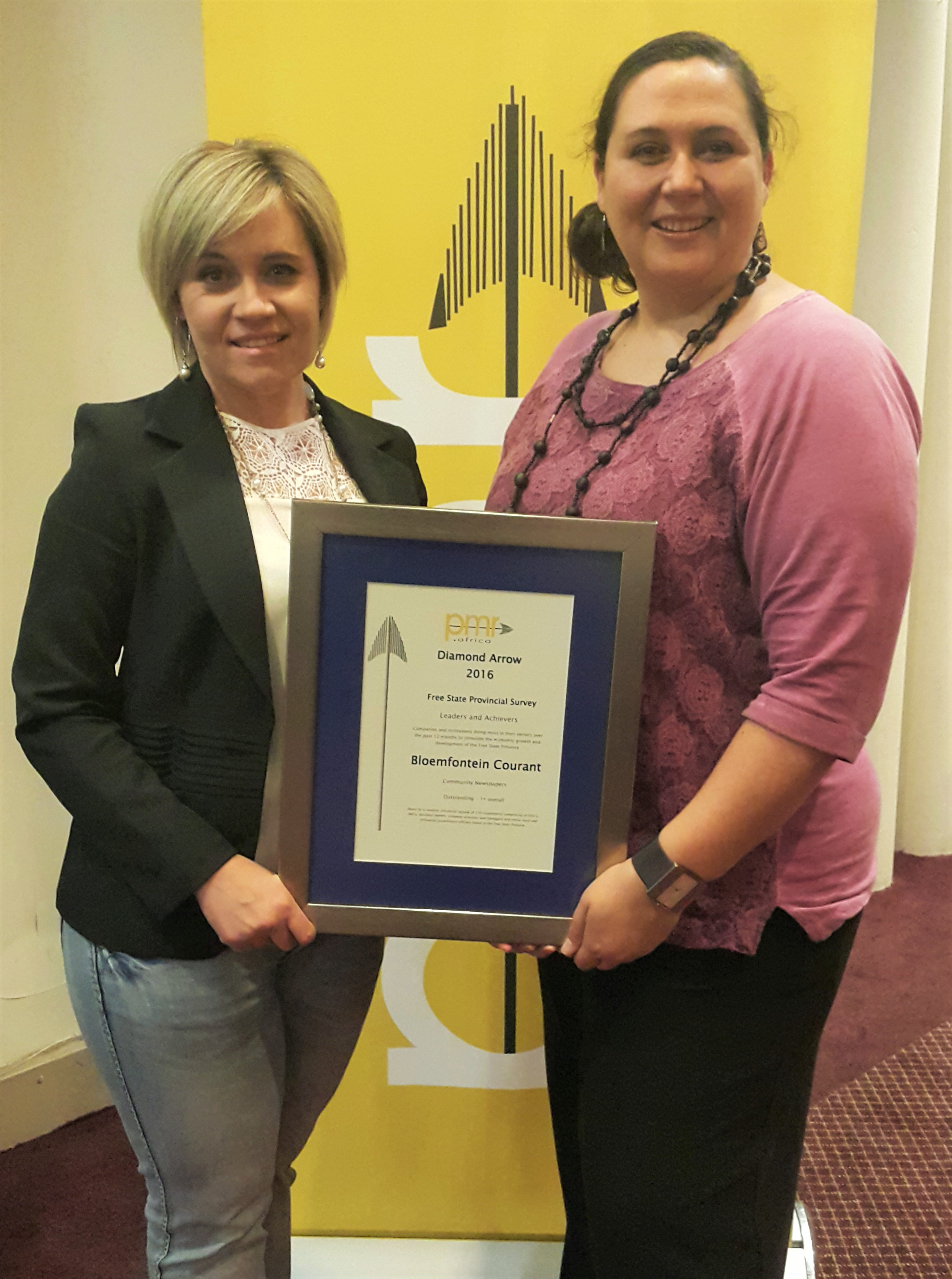 Corni Fourie, Mahareng Sales Manager and Maricelle Botha, Bloemfontein  Courant Editor last week received Courant's PMR.Africa Diamond Arrow Award  for the ...