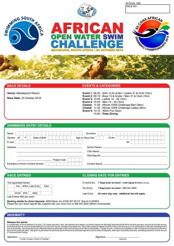 African Open Water Swim Challenge Entry Form