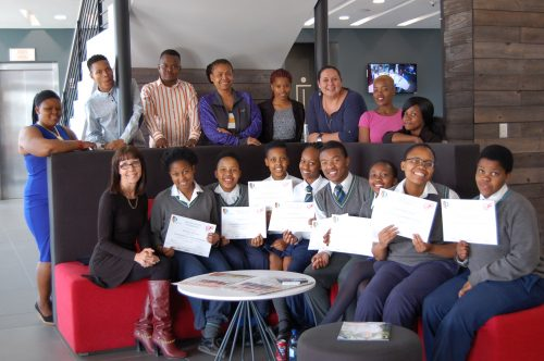 Pictured with the CUT students and learners from Brebner High School, are Delport (at the left in front), Lorraine Louw (fourth from the left, at the back), lecturer in Communication Sciences at the CUT, and Botha (third from the right, at the back) with the students and learners.
