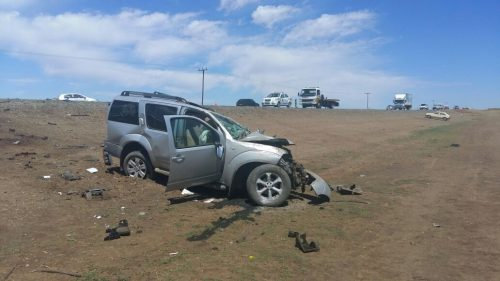 Three people were killed and three others sustained various injuries in a head on collision on the N8 approximately 40 kilometres outside of Bloemfontein this morning. Photo: Cathy Dlodlo