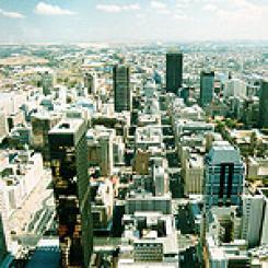 Aerial view of Johannesburg/sahistory.org