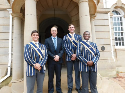 Henk Cilliers (vice school captain – city), Rikus Pretorius (school captain), and Lebo Molefe (vice school captain – hostels) are the 2017 head leaders of Grey College, pictured here with Mr Deon Scheepers (principal).