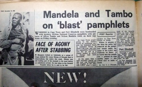 Nelson Mandela and Oliver Tambo comments on the random 'bomb attacks'.