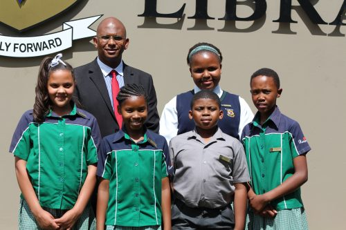 Academic honours  Lee-Andre Landers (Grade 6), Khanyisile Nyatshoba (Grade 6), Matthew Morake (Grade 5), Bokang Taemane (Grade 5) and at the back, Oarabile Mothusi (Grade 7), received academic honours at the annual prize-giving of Roseview Primary School. Here they are pictured with school principal, Mr Wayne Cicilie.