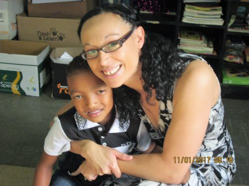 Patty Hartzenberg, a grade R teacher at Academy of Excellence, with Kaileb Fredericks, one of her learners. PHOTOS: PULANE CHOANE