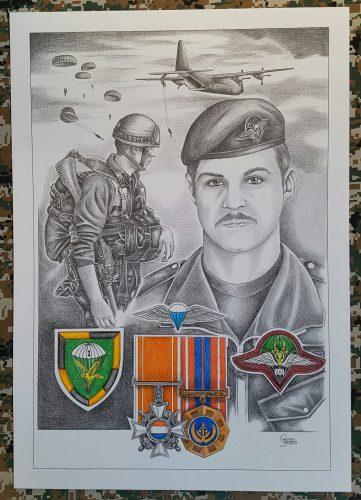 'n A2-skets van 'n Suid-Afrikaanse valskermsoldaat met sy Honoris Crux-medalje.