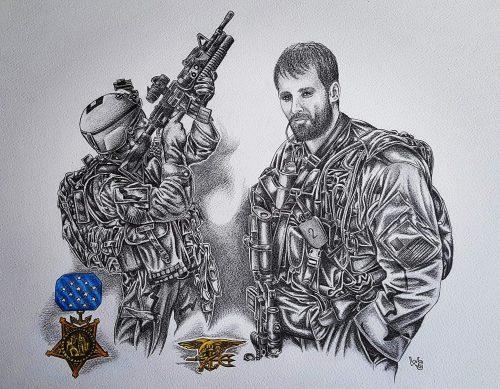 Een van Warren Gibson se vele militêre sketse, van die amerikaanse Navy Seals.